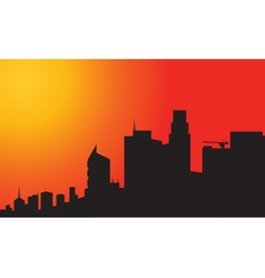 Silhouette of city at the afternoon vector
