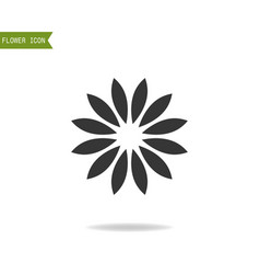 black flat silhouette object of flower for logo vector image vector image