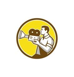 Cameraman cradling vintage movie camera circle vector