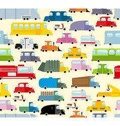 Cartoon car pattern city traffic jam diverse vector