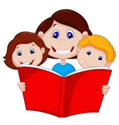 Cartoon Mother reading book to her children vector image vector image