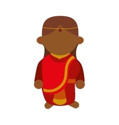 Cartoon woman icon indian culture design vector