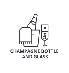 champagne bottle and glass line icon outline sign vector image