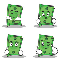 collection set dollar character cartoon style vector image
