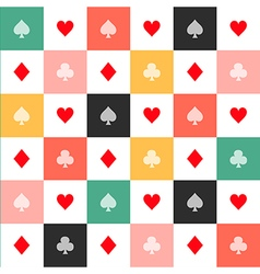 Colorful card suits chess board background vector
