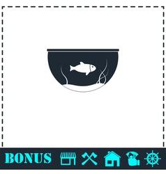 Fish aquarium icon flat vector