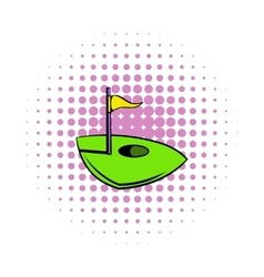 Flag on a golf course icon comics style vector