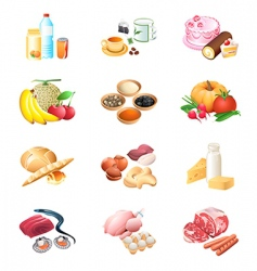 food market icons vector image