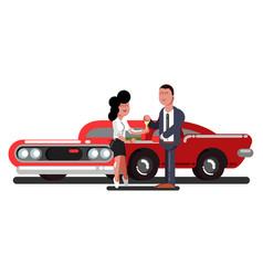 girl buy a car vector image vector image