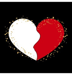 Halves gold heart icon Golden splash vector image