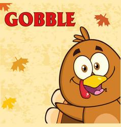 Happy turkey bird cartoon character vector