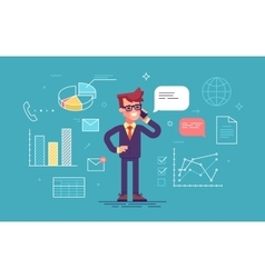 Man is speaking on phone with office process icons vector image
