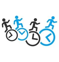 Men running over clocks icon vector