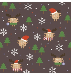 Merry Christmas deer seamless background vector image