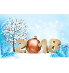 new year background with a 2018 and a gold ball vector image vector image