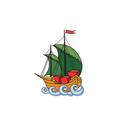 Sailing ship retro ship transport cartoon marine vector