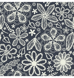 Seamless shabby floral hand-drawn curly pattern vector