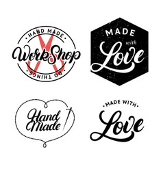 set of hand made hand written lettering logo vector image vector image
