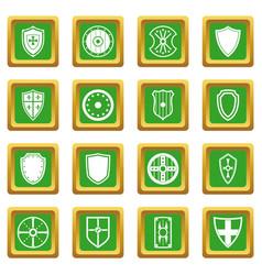 Shield frames icons set green vector