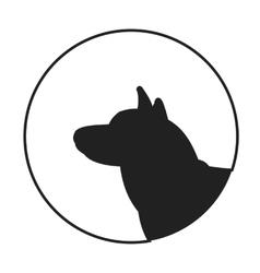 Silhouette of a dog head siberian husky vector image
