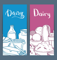 sketched dairy goods flyer or banner vector image