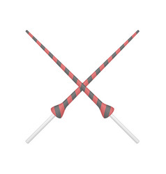 Two crossed lances in red and black design vector