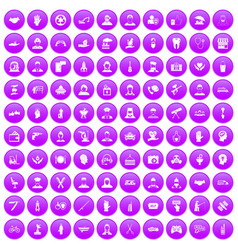 100 human resources icons set purple vector