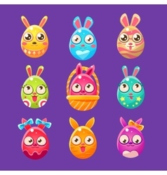 Easter bunny in shape of an egg in different vector