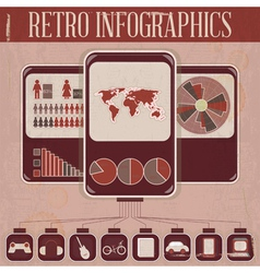 Retro infographic phone design vector