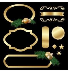 Set of gold luxury labels frames stars balls vector