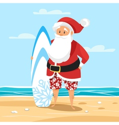 Cartoon style of santa surfer vector