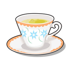 Elegance porcelain cup with green tea on a saucer vector