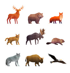 northern wild animals polygonal icons set vector image