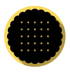 round biscuit sign  flat black icon with vector image