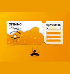 gift vouchers template design for beer party vector image