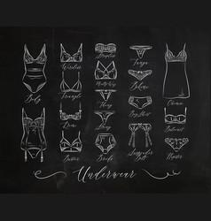 Underwear classic icons chalk vector