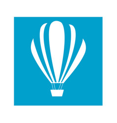 Blue square frame with hot air balloon vector