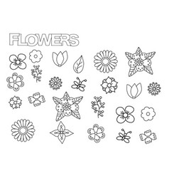 Hand drawn flowers set coloring book page vector