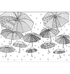 Flying umbrellas vector