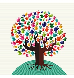 Colorful solidarity hands tree vector