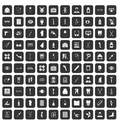 100 pharmacy icons set black vector