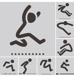 Long jump icons vector