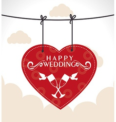 Wedding design over cloudscape background vector