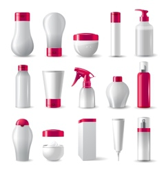 Cosmetics packages with pink caps vector