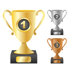 trophy cups with numbers vector image