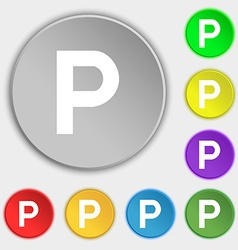 Parking icon sign symbol on five flat buttons vector