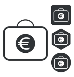 Euro bag icon set monochrome vector
