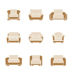 Set of stylish armchairs vector