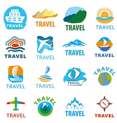 Large set of logos for travel vector