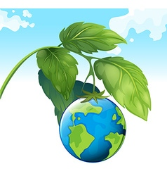 Save the world theme with earth and plant vector
